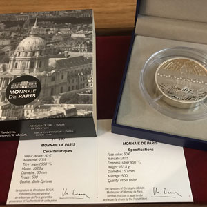 50 €   Unesco - Rives de la Seine, Invalides et Grand Palais   2015   163.8 g argent 950 mill.    BE
