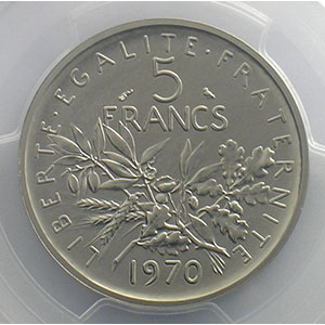 G.771P   5 Francs   1970 nickel    PCGS-SP67    FDC