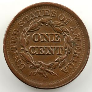 One Cent   1852   Braided hair cent    TTB+