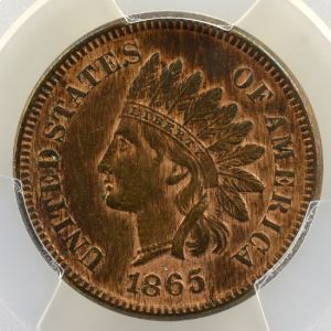One Cent   1865  (plain 5)   Indian Eagle Cent    PCGS-AU53    TTB+