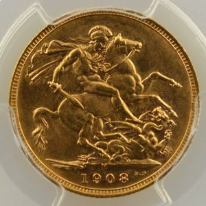 Souverain / Sovereign   1908 M (Melbourne)    PCGS-MS63    SUP/FDC